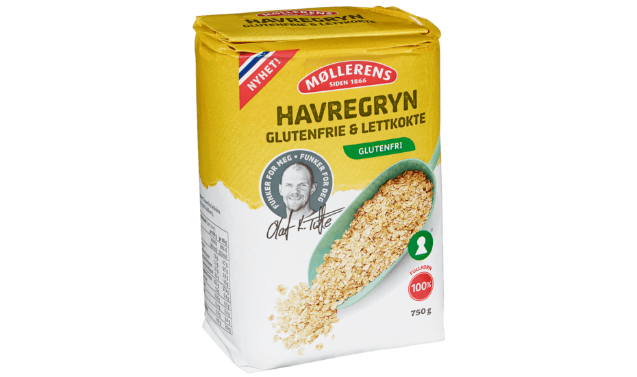 Møllerens Havregryn, glutenfri og lettkokt