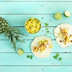 Taco med spicy scampi og mangosalsa