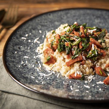 Byggotto med chorizo og spinat