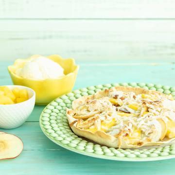 Desserttortilla med mango og marsipan